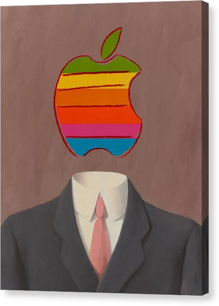 Andy Warhol Canvas Print - Apple-man-1 by Rene Magritte and Andy Warhol
