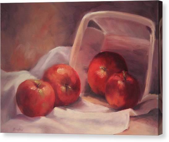 Apples And  Basket Canvas Print