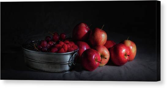 Raspberry Canvas Print - Apples And Berries Panoramic by Tom Mc Nemar