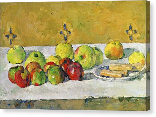 Biscuits Canvas Print - Apples And Biscuits by Paul Cezanne