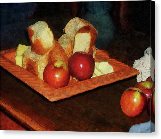 Wooden Platters Canvas Print - Apples And Bread by Susan Savad