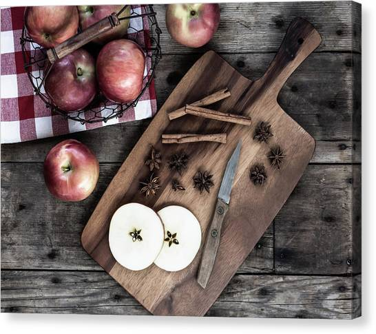 Canvas Print featuring the photograph Apples And Cinnamon  by Kim Hojnacki