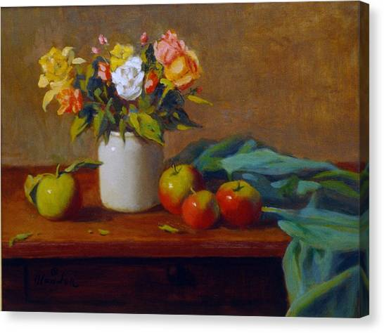 Apples And Flowers Canvas Print by David Olander