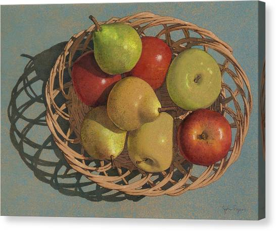Apples And Pears In A Wicker Basket  Canvas Print