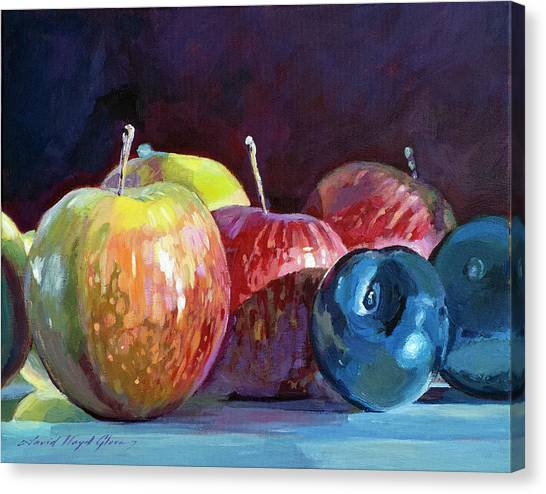 Produce Stand Canvas Print - Apples And Plums  by David Lloyd Glover