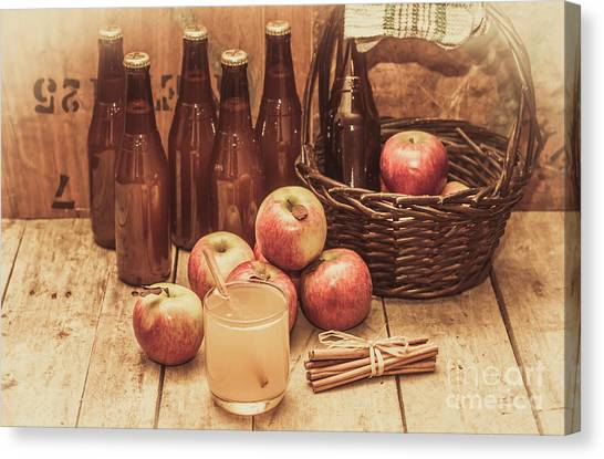 Juice Canvas Print - Apples Cider By Wicker Basket On Wooden Table by Jorgo Photography - Wall Art Gallery
