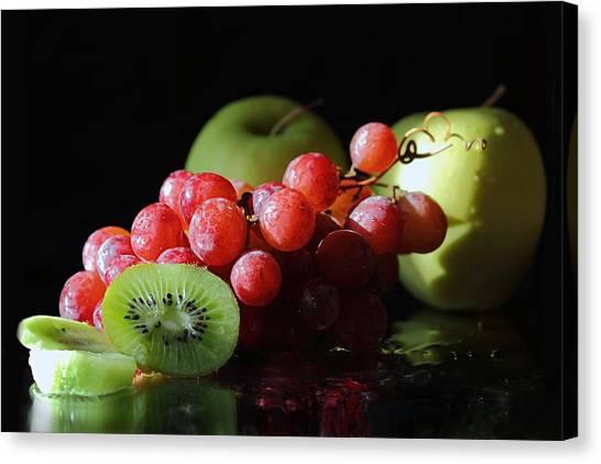 Apples, Grapes And Kiwi  Canvas Print
