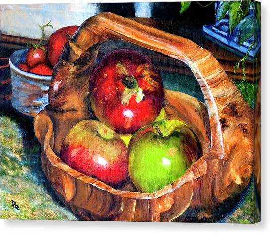 Apples In A Burled Bowl Canvas Print