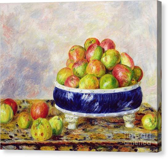 Pierre-auguste Renoir Canvas Print - Apples In A Dish by  Pierre Auguste Renoir