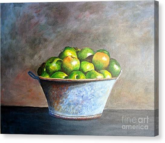 Apples In A Rusty Bucket Canvas Print