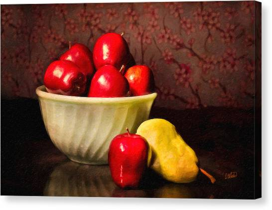 Apples In Bowl With Pear Canvas Print