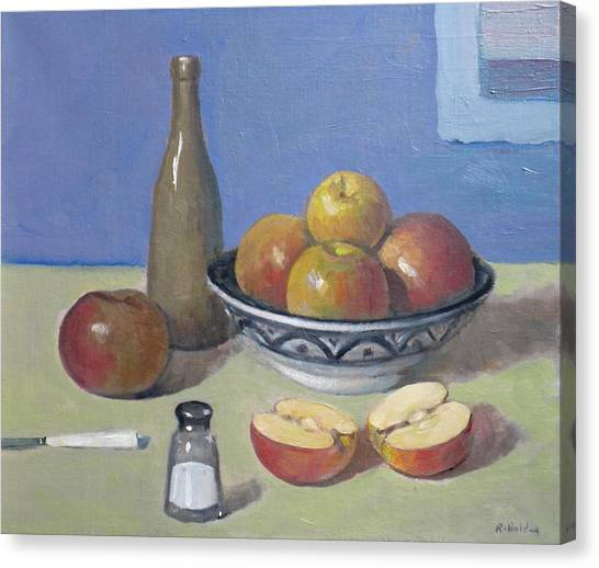 Apples In Moroccan Bowl, Salt And Vintage Bottle Canvas Print