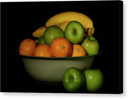 Canvas Print featuring the photograph Apples, Oranges And Bananas 1 by Angie Tirado