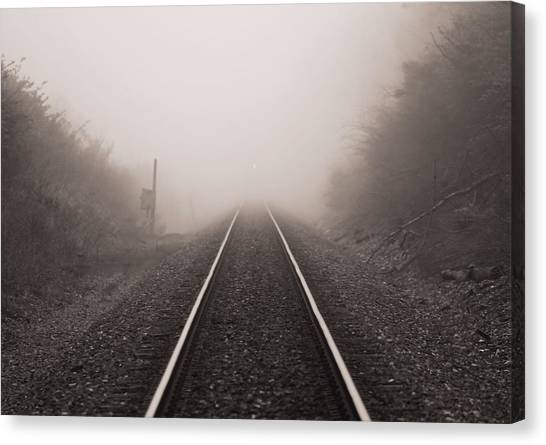 Train Conductor Canvas Print - Approaching Train In Fog by Dan Sproul