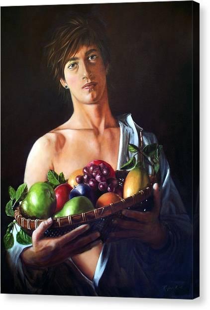 Apres Caravaggio - Garcon Avec Le Panier Du Fruit Canvas Print