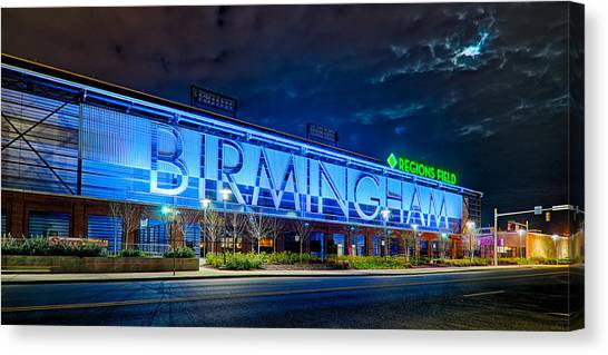 April 2015 -  Birmingham Alabama Baseball Regions Field At Night Canvas Print