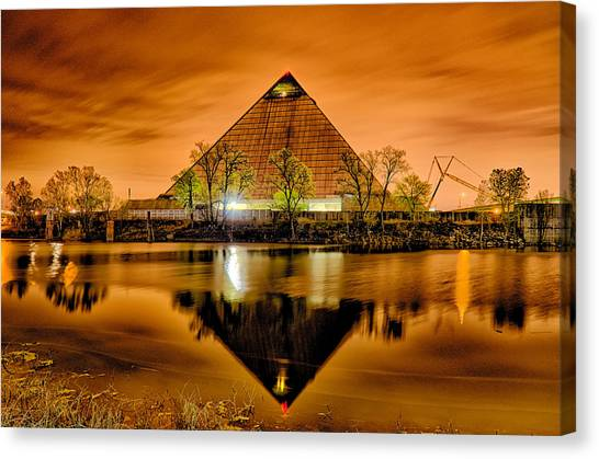 Memphis Grizzlies Canvas Print - April 2015 - The Pyramid Sports Arena In Memphis Tennessee by Alex Grichenko