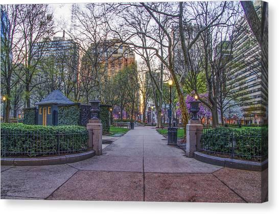Philadelphia Phillies Canvas Print - April At Rittenhouse Square by Bill Cannon
