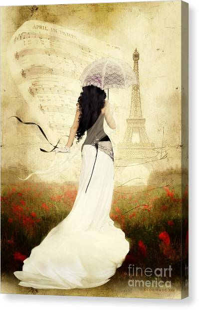Romanticism Canvas Print - April In Paris by Shanina Conway