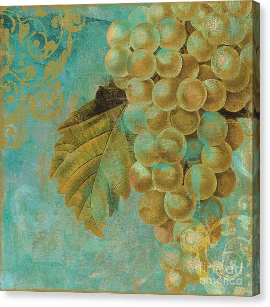 Gold Canvas Print - Aqua And Gold Grapes by Mindy Sommers