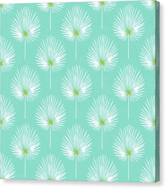 Simple Canvas Print - Aqua And White Palm Leaves- Art By Linda Woods by Linda Woods