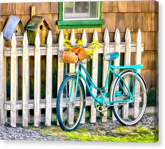 Aqua Antique Bicycle Along Fence Canvas Print
