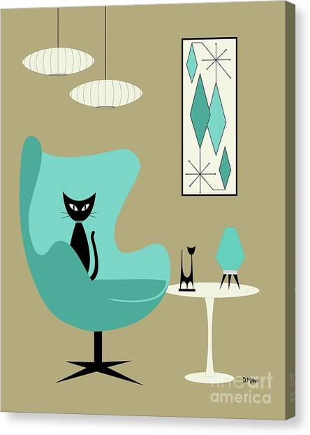 Mid Century Furniture Canvas Print - Aqua Egg Chair With Beehive Lamp by Donna Mibus