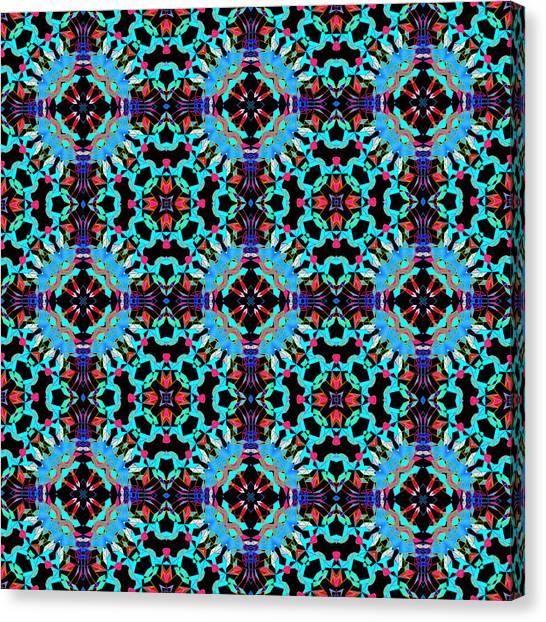 Aqua Geometric Mandala Canvas Print