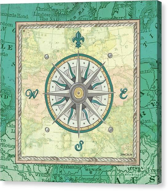 Underwater Canvas Print - Aqua Maritime Compass by Debbie DeWitt