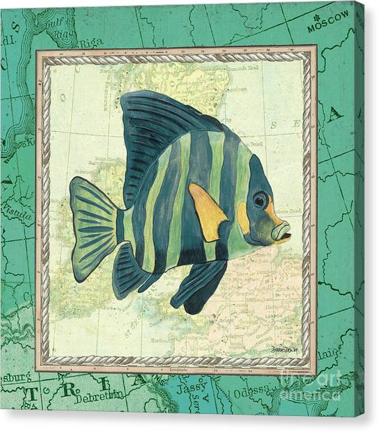 Vintage Europe Canvas Print - Aqua Maritime Fish by Debbie DeWitt