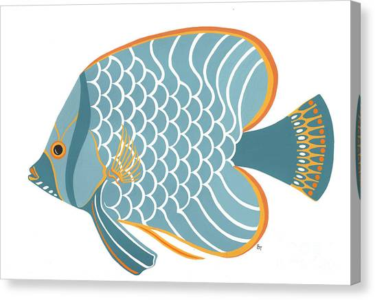 Fish Canvas Print - Aqua Mid Century Fish by Stephanie Troxell