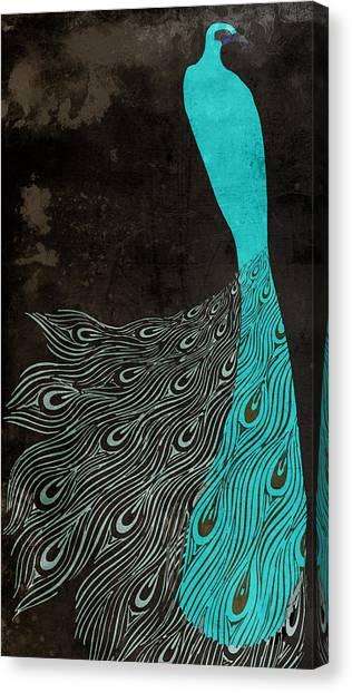 Peacocks Canvas Print - Aqua Peacock Art Nouveau by Mindy Sommers