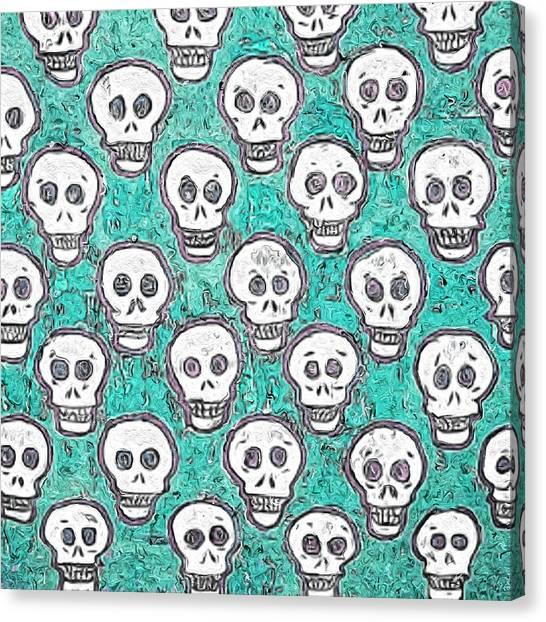 Canvas Print - Aqua Skull Pattern by Modern Art