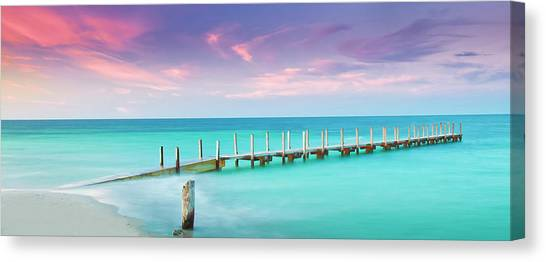 Ocean Sunsets Canvas Print - Aqua Waters  by Az Jackson