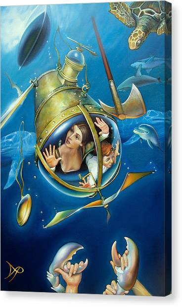 Submarine Canvas Print - Aquaria Rising From Mask Of The Ancient Mariner by Patrick Anthony Pierson
