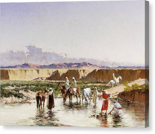 Sahara Desert Canvas Print - Arab Horsemen Watering In An Oasis by Victor-Pierre Huguet