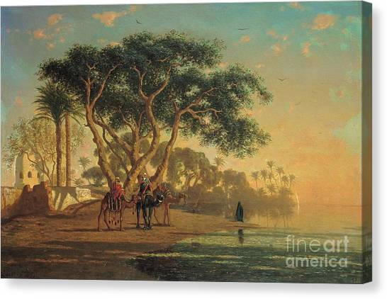 Sahara Desert Canvas Print - Arab Oasis by Narcisse Berchere