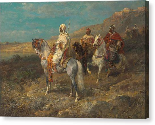 Scouting Canvas Print - Arab On A White Horse by Adolf Schreyer