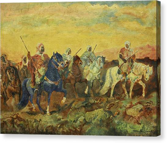 Arabian Desert Canvas Print - Arabian Horsemen by Willoughby Senior