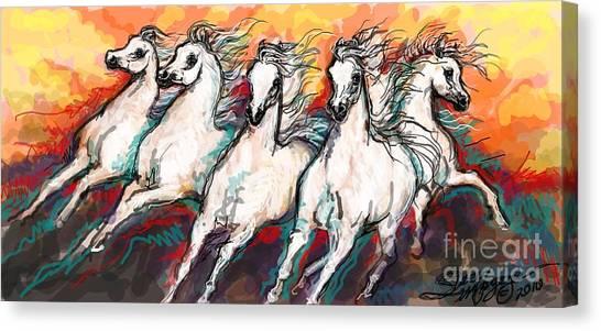 Arabian Sunset Horses Canvas Print