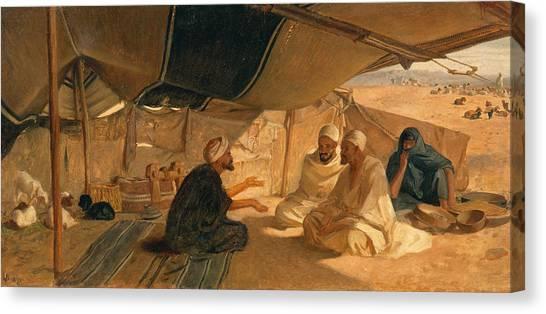 Sandy Desert Canvas Print - Arabs In The Desert by Frederick Goodall