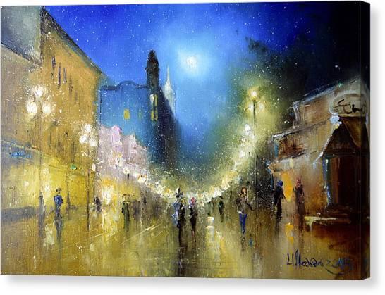 Arbat Night Lights Canvas Print