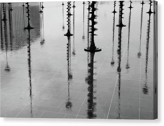 Arbres Lumineux In The Rain Paris  Canvas Print