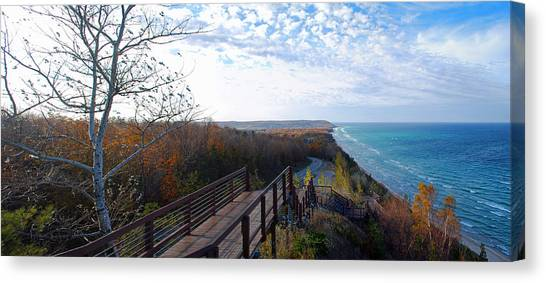 Lake Michigan Canvas Print - Arcadia Overlook In Fall by Twenty Two North Photography