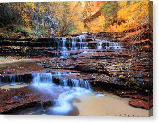 Angel Falls Canvas Print - Arch Angel Waterfalls In Zion by Pierre Leclerc Photography