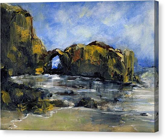 Arch At Pearl Beach Over Cast Canvas Print by Randy Sprout