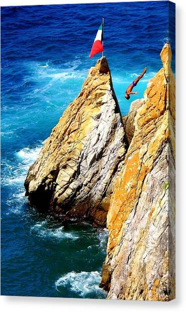 Acapulco Canvas Print - Arch Of A Diver by Karen Wiles