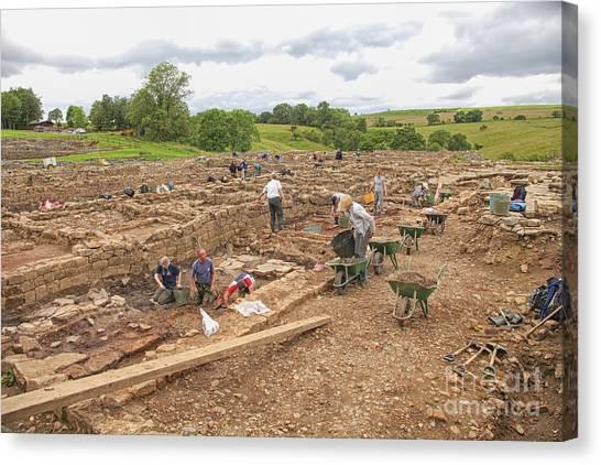 Archaeologists At Work At Roman Vindolanda Canvas Print