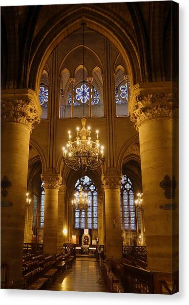 Architectural Artwork Within Notre Dame In Paris France Canvas Print
