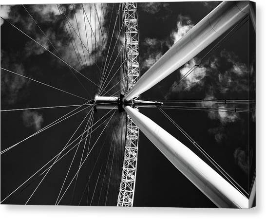 Architectural Details Of The Metallic Structure Of A Ferris Whee Canvas Print